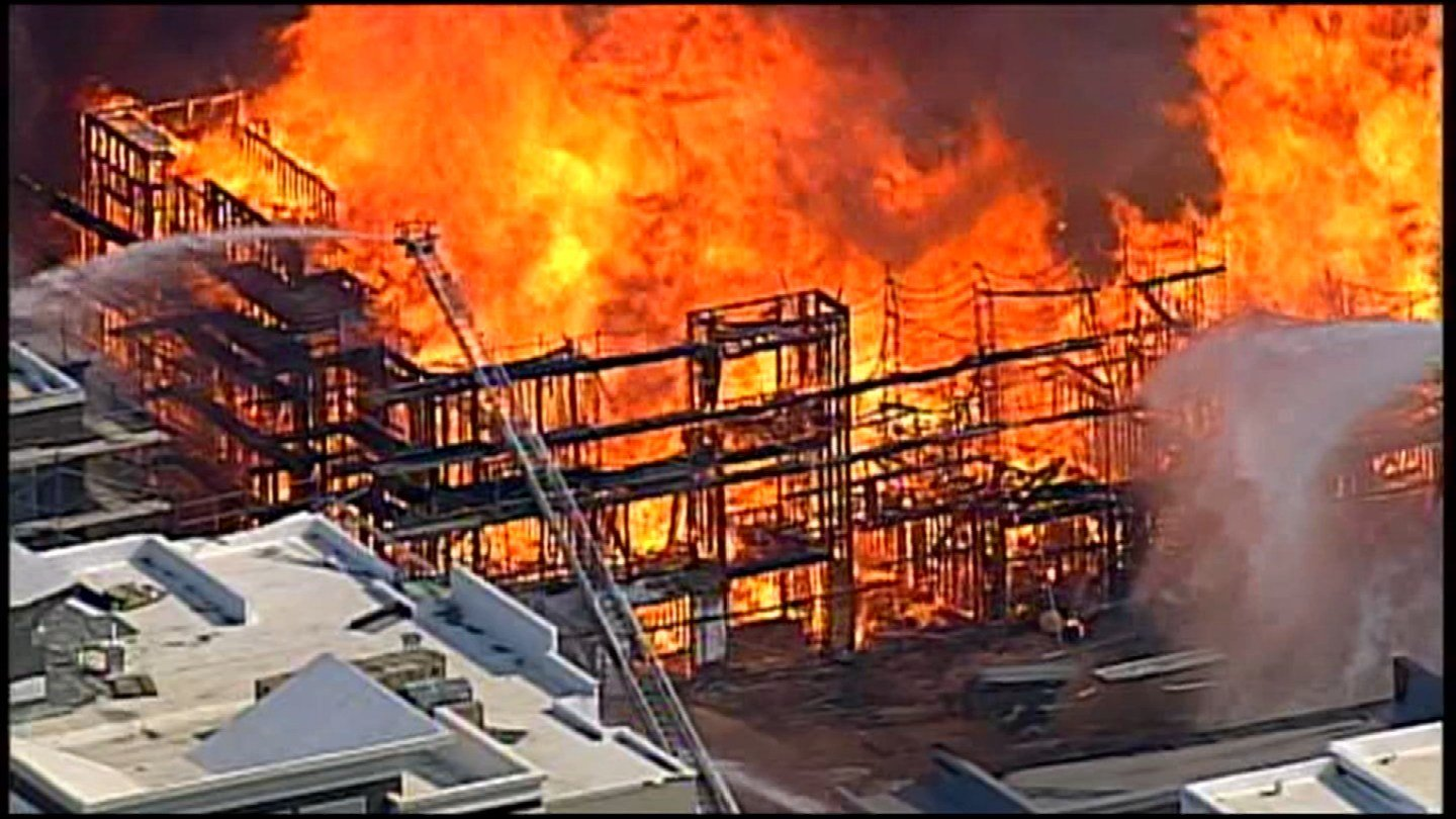 Firefighters are battling a massive fire at an apartment complex in Overland Park. (KCTV5)