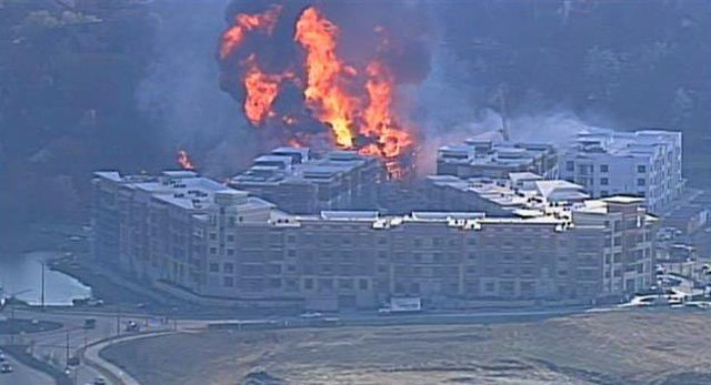 The fire started at the building of the $450 million City Place development in the area of College Avenue and Switzer Road. (KCTV5)