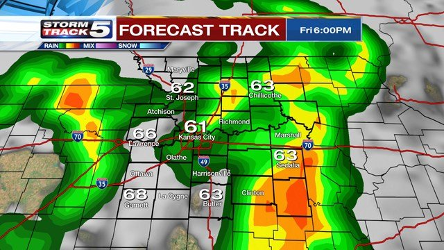 Early in theafternoon, around the lunch hour, a line of strong storms is expected to develop along and east of the state line. (KCTV5)
