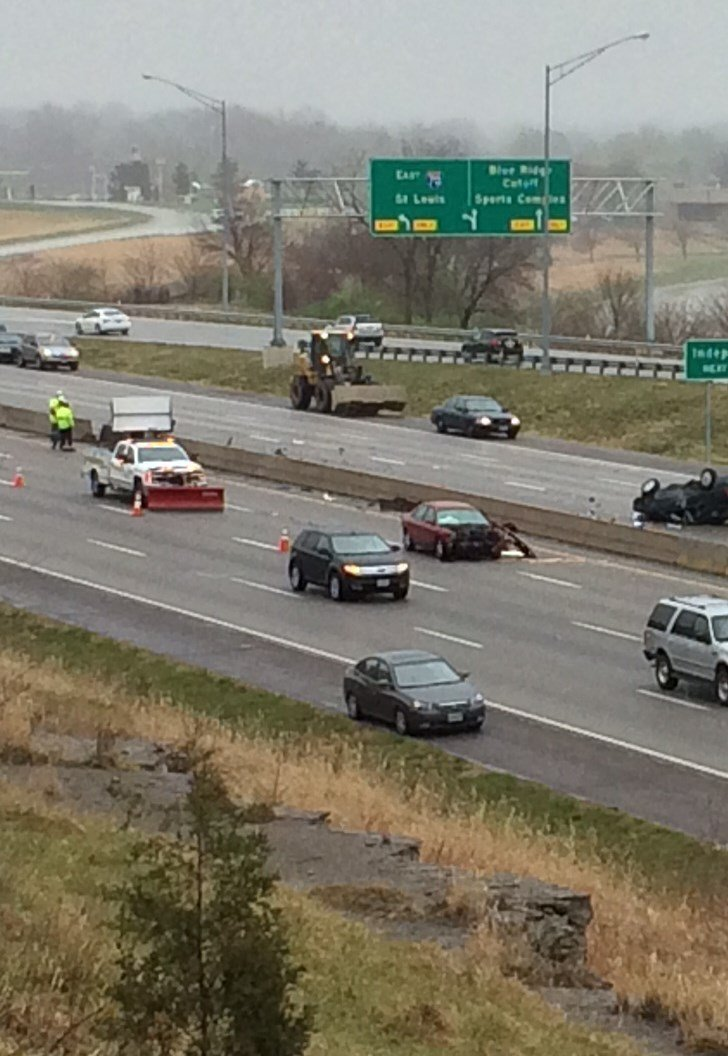 The scene of the crash at I-70 and Stadium. (KCTV)