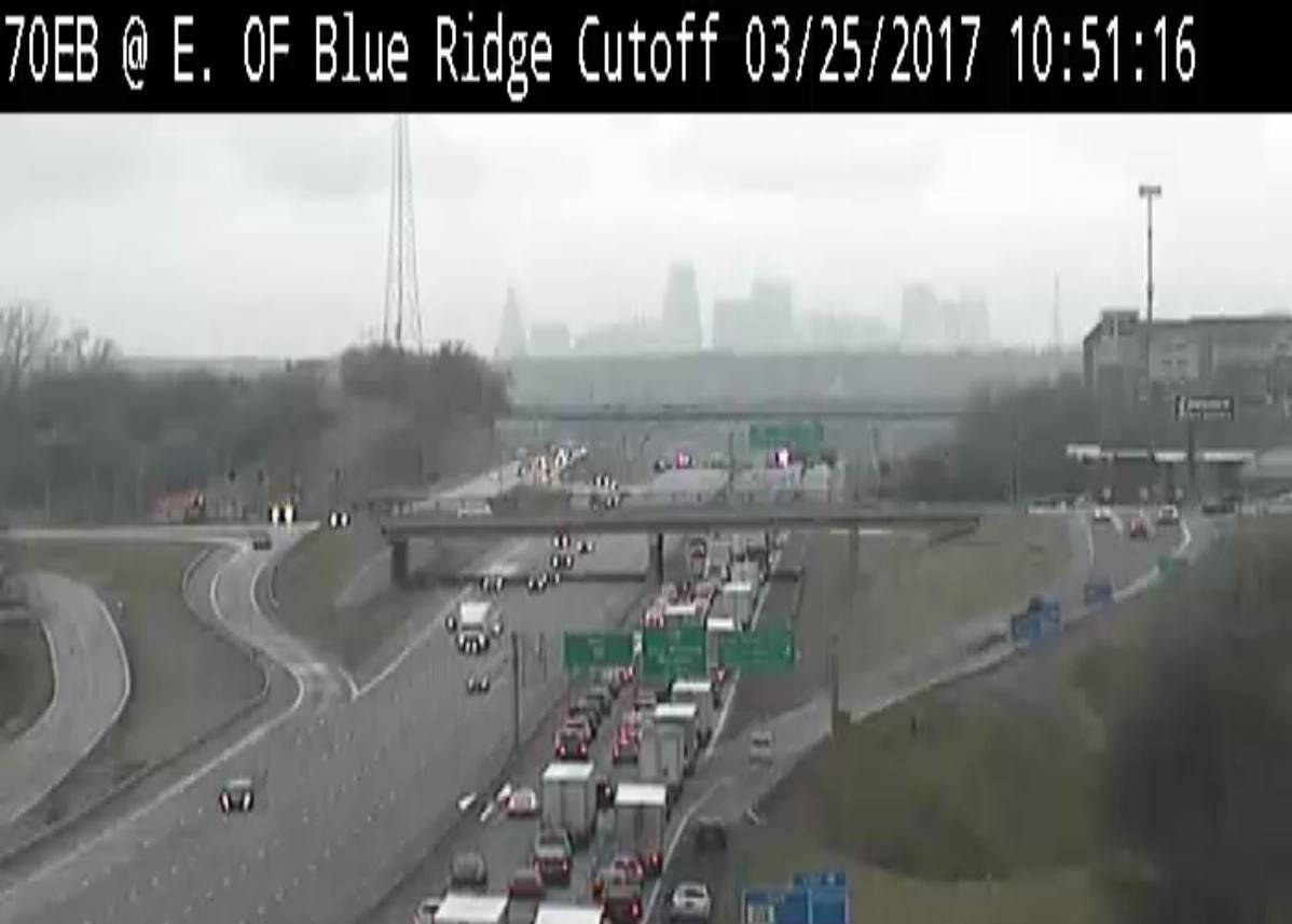 Traffic backups were extensive due to the lane closures. (KCTV)