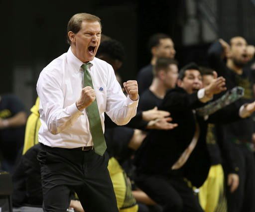 Oregon head coach Dana Altman yells to his team during the second half an NCAA college basketball game against Arizona Saturday, Feb. 4, 2017, in Eugene, Ore. (AP Photo/Chris Pietsch)