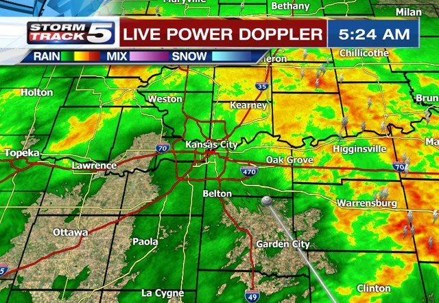 Severe storms are not expected but downpours with frequent lightning and occasional 30 to 40 mph wind gusts are possible. (KCTV5)