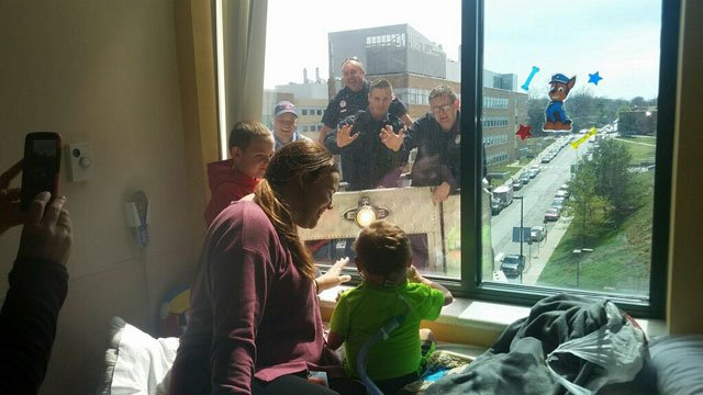 But through all the sadness, there have been some special moments for the family while staying in Kansas City. One such event happened last week outside Mason's hospital window when Kansas City firefighters surprised the boy. (Submitted)