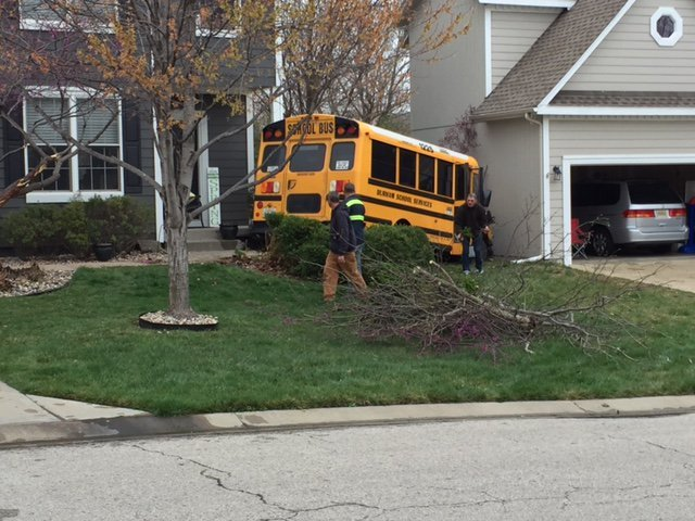 Two adults were taken to the hospital after a school bus went off the road and into some bushes at West 147th Terrace in Olathe. (KCTV5)