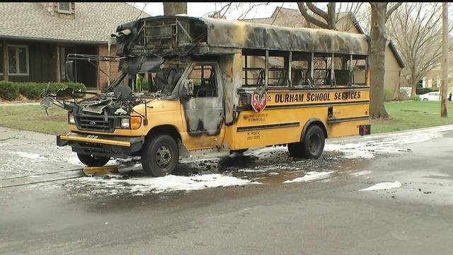 The view of the front of the bus that caught on fire. (KCTV)