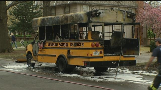 What the back of the bus that caught on fire looked like. (KCTV)