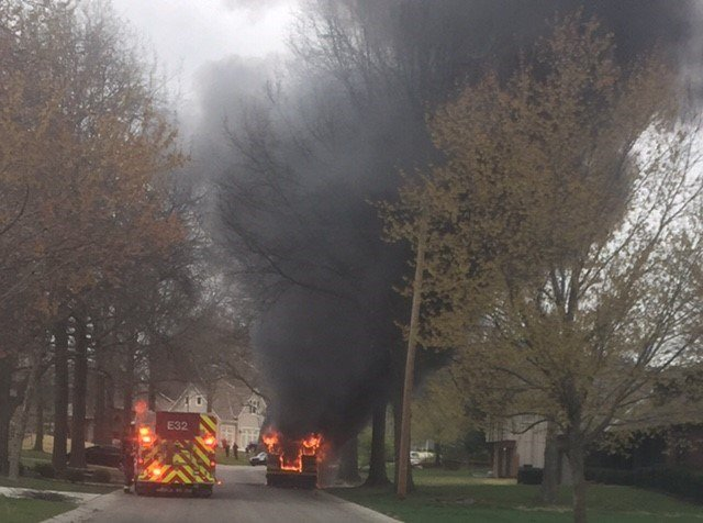 This is a photo of the bus while it was still engulfed in flames. (Kim Merrill/KCTV)