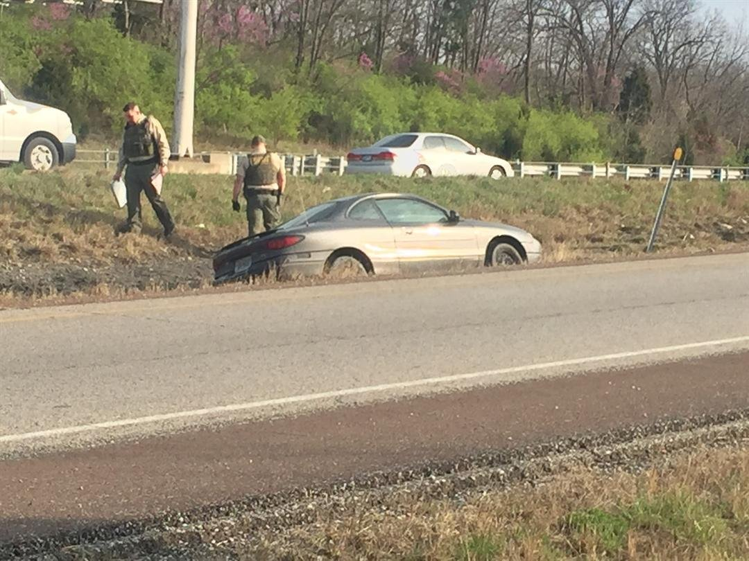 A closer view of the car off the roadway. (Grady Reid/KCTV)
