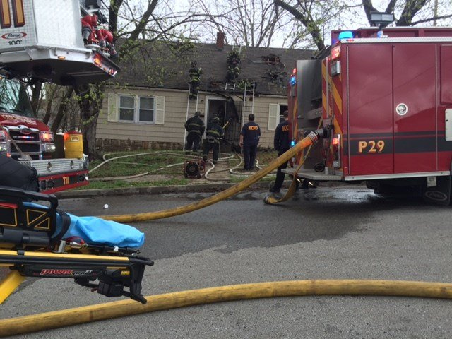 Firefighters were called just before 3 p.m. to the home in the 1500 block of East 49th Terrace, which is at the corner of East 49th Terrace and Highland Avenue. (Kimo Hood/KCTV5 News)