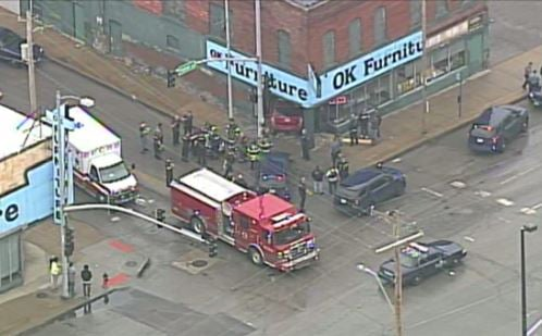 One vehicle crashed into the OK Furniture building at 2522 East Truman Road. (Chopper5)