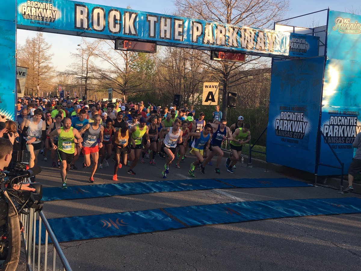 Runners taking off from the starting line at Rock the Parkway on Saturday morning. (KCTV)