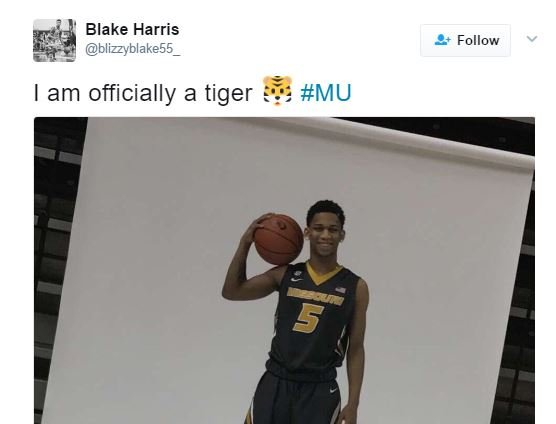 Point guard Blake Harris, out of Chapel Hill, NC, announced Sunday afternoon he had selected Missouri. (Blake Harris Twitter)