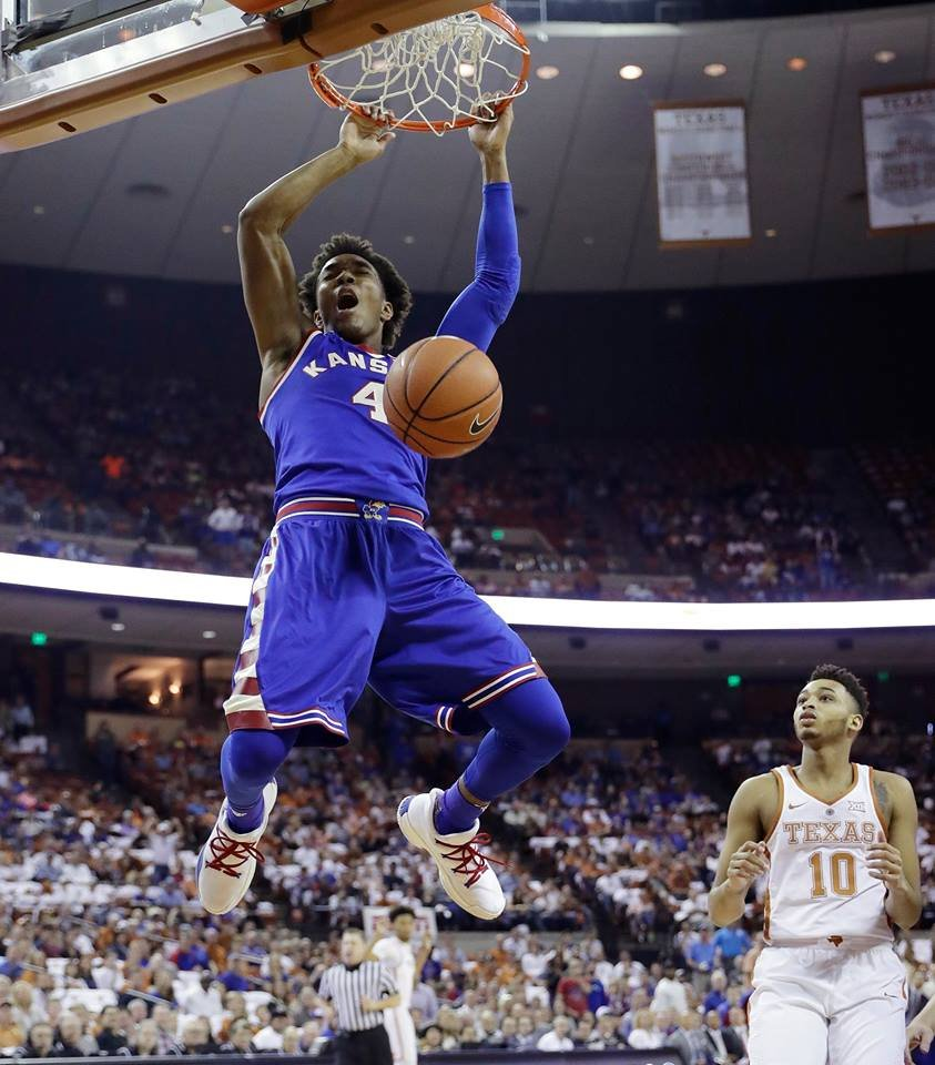 Kansas Jayhawks' guard Devonte Graham has announced he's returning for his senior season. (AP)