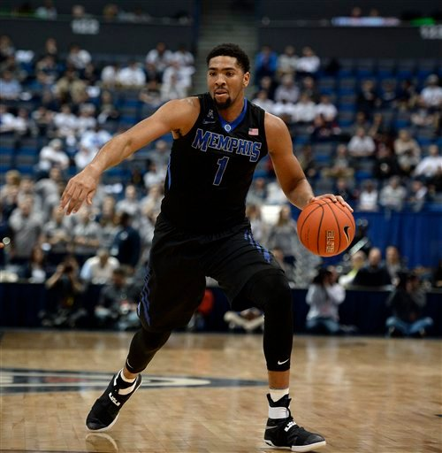 Memphis' Dedric Lawson in the first half of an NCAA college basketball game, Thursday, Feb. 16, 2017, in Hartford, Conn. (AP Photo/Jessica Hill)