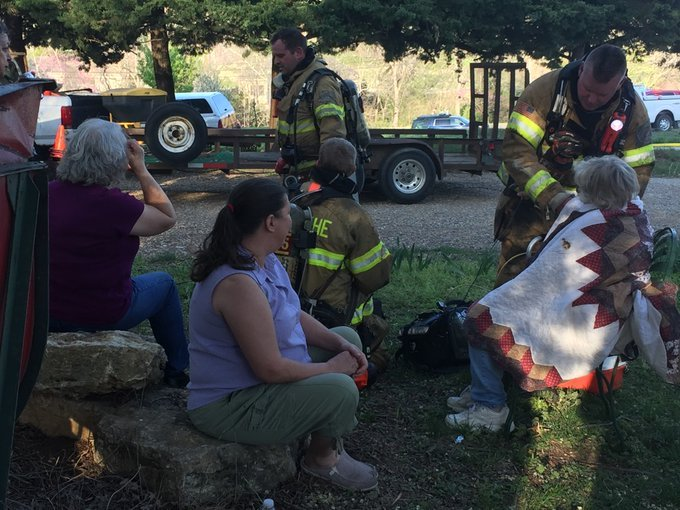 An elderly woman was rescued from a burning home in Olathe by her son. (Betsy Webster/KCTV5)