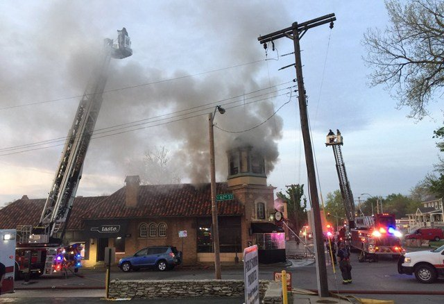 The fire has caused extensive damage throughout the restaurant and put a hole in the roof. (KCTV5)