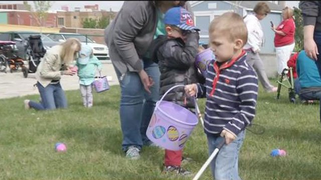 Dozens of children who are visually impaired had the opportunity to hunt for Easter eggs Wednesday. (KCTV5)