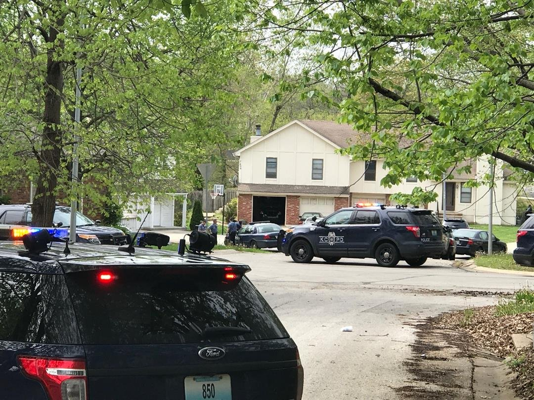 The scene in the area where the chase ended on Sunday afternoon. (Eric Smith/KCTV)