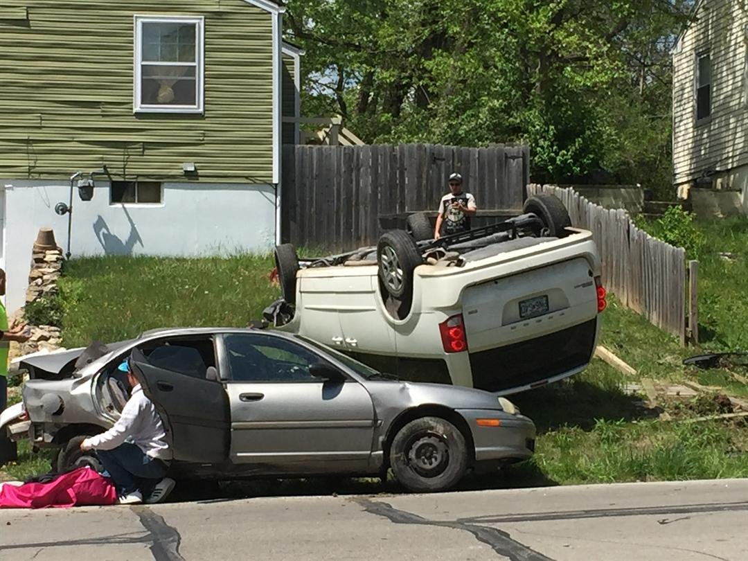 Four people are in custody after a high-speed police chase ended Wednesday in a crash. (Dwain Crispell/KCTV5 News)