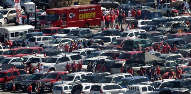 Chiefs fans are encouraged to purchase parking passes in advance to secure the lowest price and reduce their time spent at the tollgate this upcoming season. (AP)