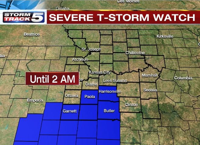 Showers and thunderstorms will move in and linger through the evening hours, with more rain possible overnight.(KCTV5)