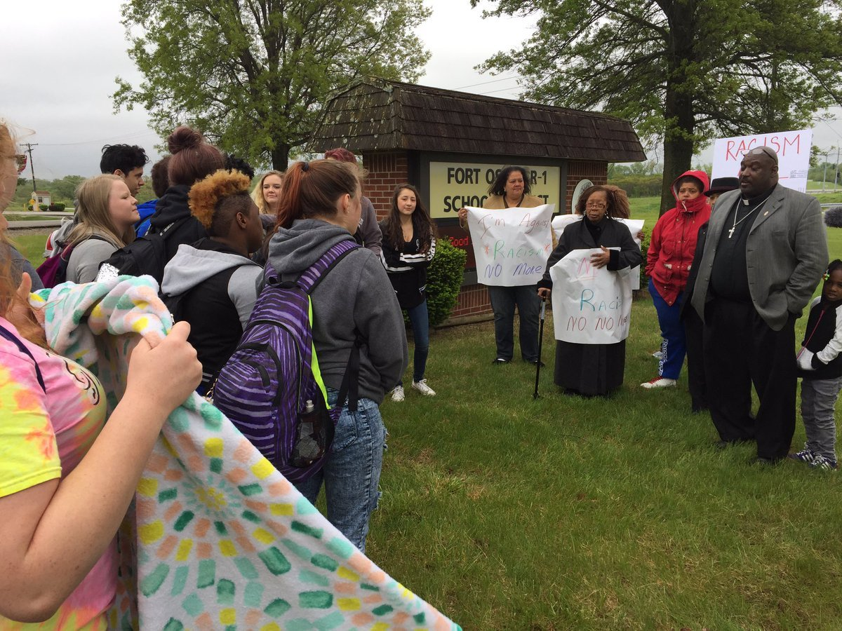Fort Osage High School students, parents protest after racist threat