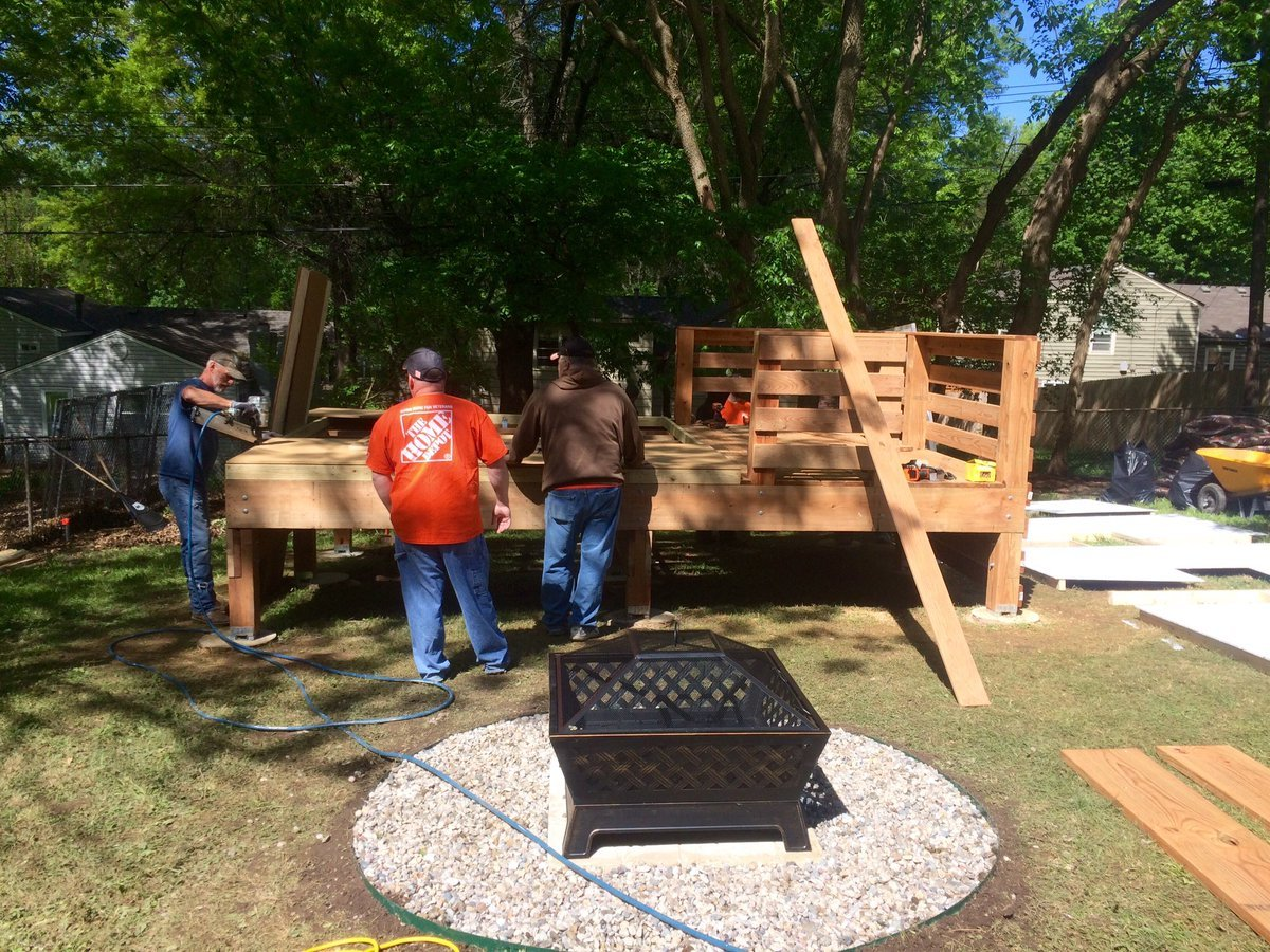 Jason Sandburg, along with about 40 volunteers from Home Depot, are helping create a happy place for Blake Danforth. (Rob Rhodes/KCTV5 News)