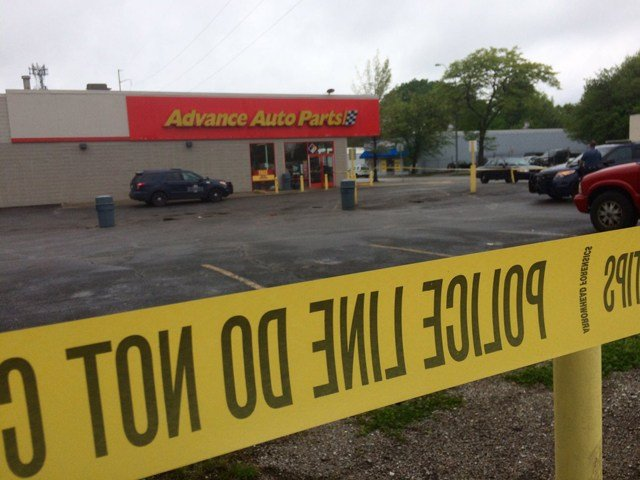 Investigators say the suspect pointed the gun at a clerk before running east from the store with cash from the register. (KCTV5)
