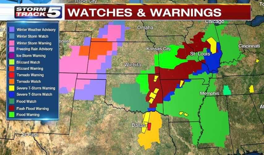 Watches and warnings were scattered across the Midwest on Saturday. (KCTV)