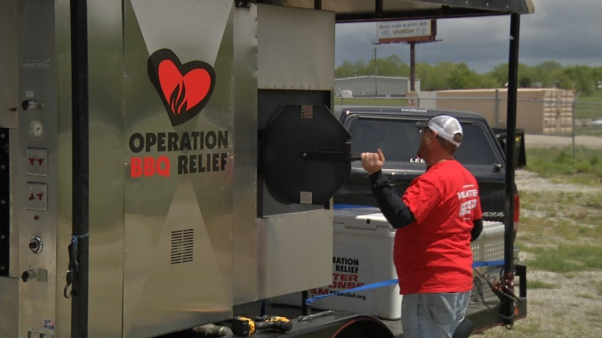 Operation BBQ Relief is firing up its smokers, preparing to deliver hot meals to flood victims in Missouri if needed. (Natalie Davis/KCTV)