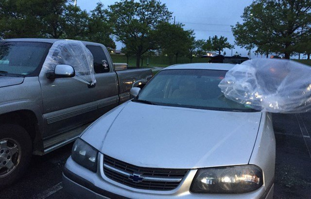 Police say the windows of the vehicles were smashed in and items from inside the vehicles were stolen. (KCTV5)