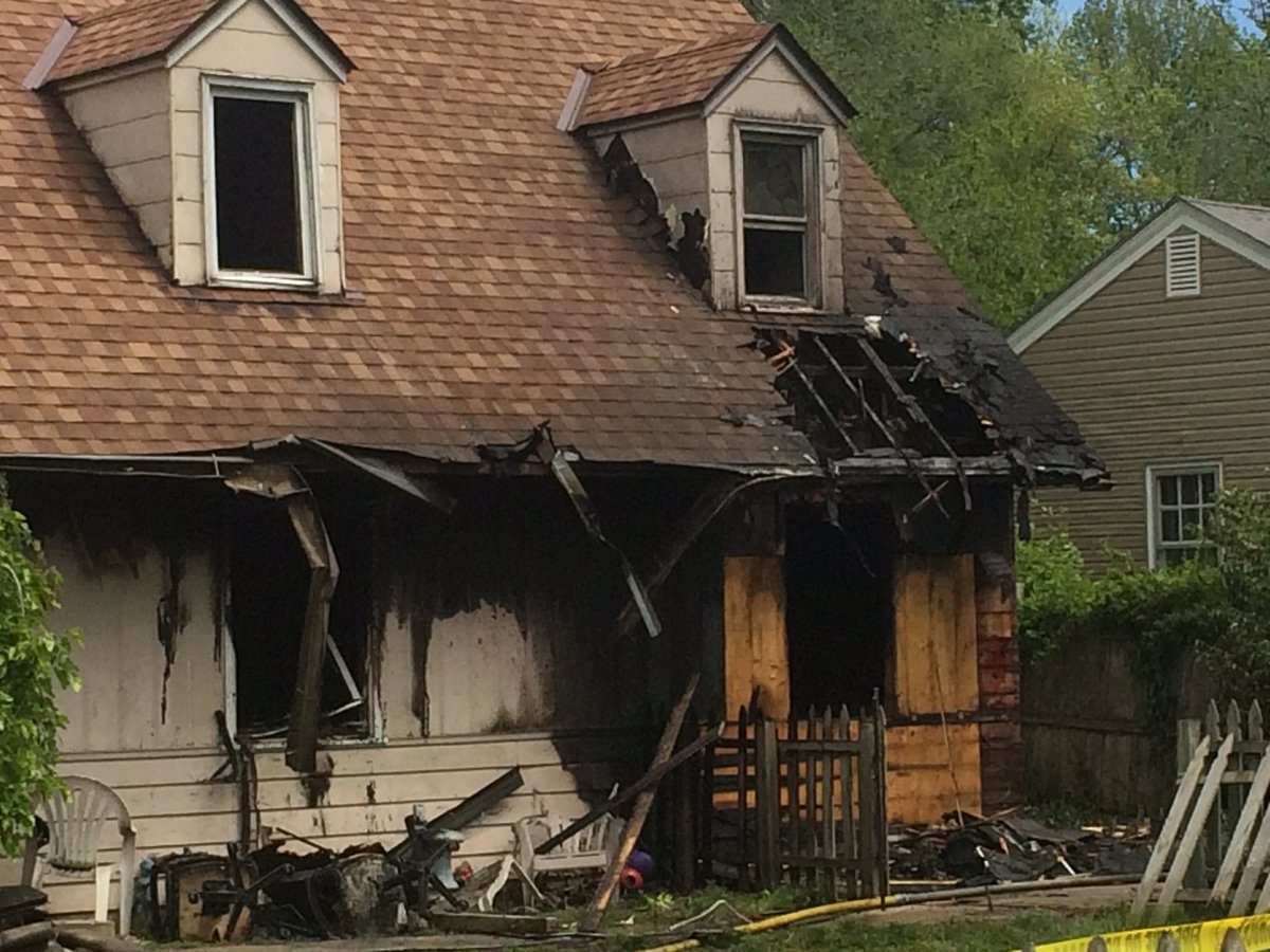 The fire started before 11 a.m. at a home in the 8500 block of E 66th Street. (Ashley Arnold/KCTV5 News)