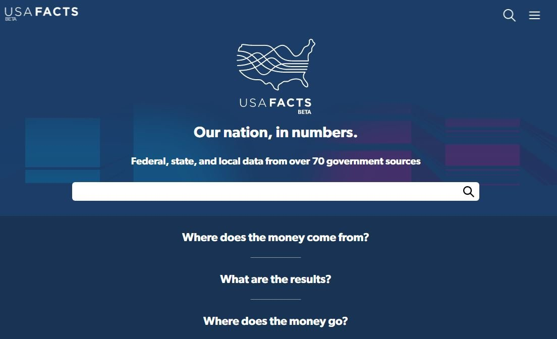 "USAFacts summarizes data – for example, spending, crime rates, and unemployment figures – from every government agency. The goal is to provide a ""digestible"" government database for Americans to turn to. (Screencap)"