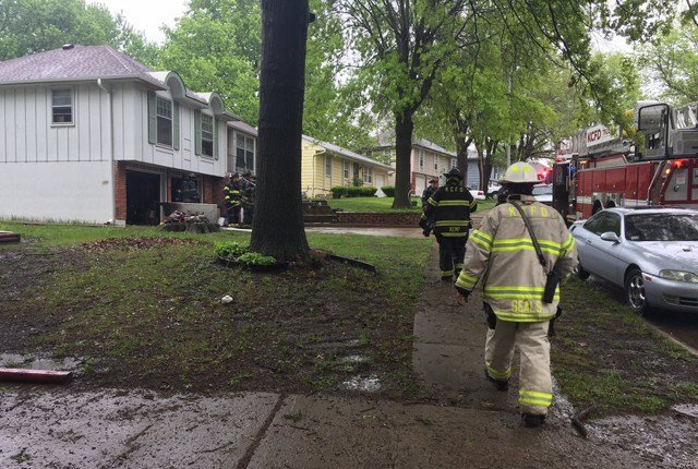 Fire officials say an electrical fire started in the basement of the home. (KCTV5)
