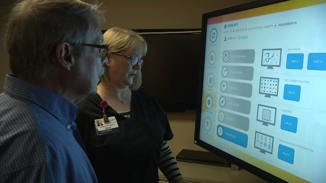 BITS allows stroke patients use a large screen to work on visual and motor movements. (KCTV5)