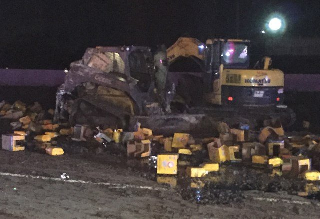 Some of the cleaning solution being carried by the semi was spilled onto the road. (KCTV5)