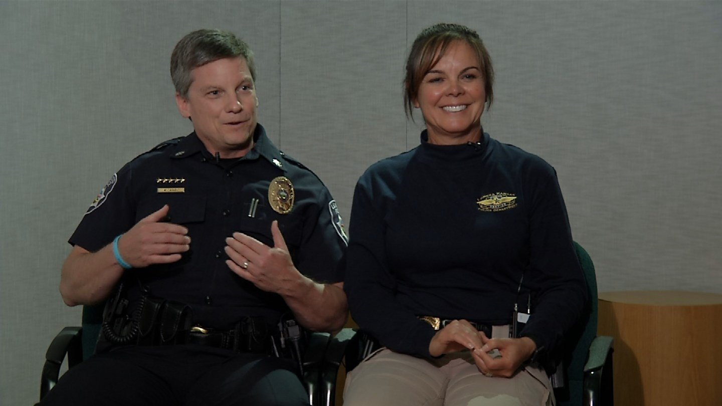 Deputy Leawood Chief of Police Kevin Cauley and his wife Capt. Diana Cauley with the Lenexa Police Department don't just help part time when it's needed but all the time. (KCTV5)