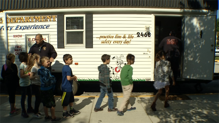 The Fire Safety House visits second grade classrooms in more than 30 Olathe schools each year.  (KCTV)