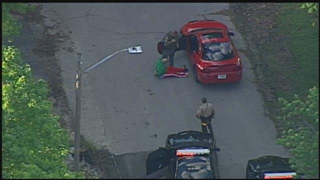 Police say the suspect, who was wanted on a warrant, led police on a pursuit for an hour. (Chopper 5)