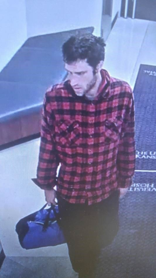 Security camera shows Kyle Joseph Weiler as he entered the hospital. Hospital staff were very concerned for his well-being. (University of Kansas Medical Center Police Department)