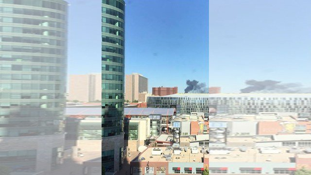 The view of the smoke from near the Sprint Center. (KCTV)