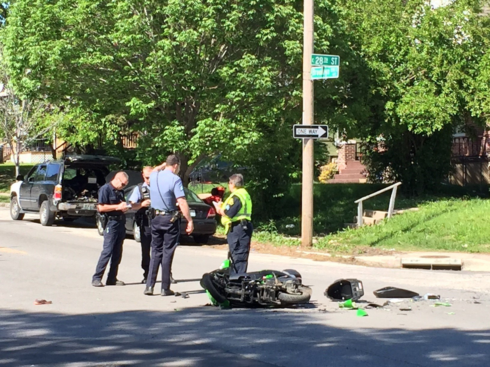 One woman was seriously injured after she was ejected from her moped and ended up in the backseat of a van. (KCTV)