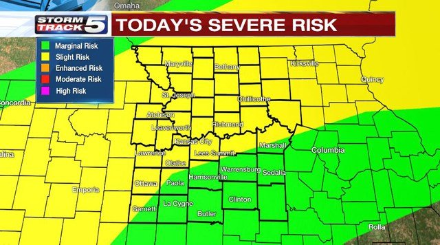 Teachman says the entire metro area has a chance to see severe weather with a slightly larger risk for northern counties. (KCTV5)