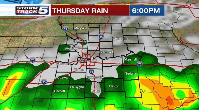 Scattered showers and storms are expected to develop shortly before noon on Wednesday. (KCTV5)