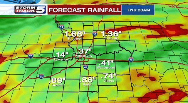 Rainfall totals are expected to be within a half inch and 2-inches through Thursday. (KCTV5)