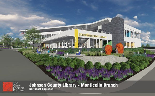 In 2018, library visitors will see a 33,548-square foot building with glass walls and modern finishes. (Johnson County Library)