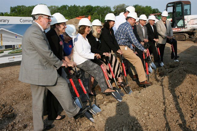 A groundbreaking ceremony was held Wednesday to commemorate the progress being made. (Johnson County Library)
