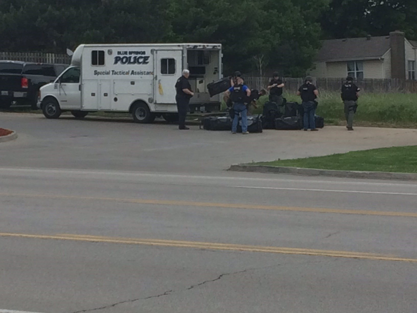 A lockdown at three schools has been lifted after gunshots rang out in a Blue Springs neighborhood during a home invasion. (Brett Akagi/KCTV5 News)