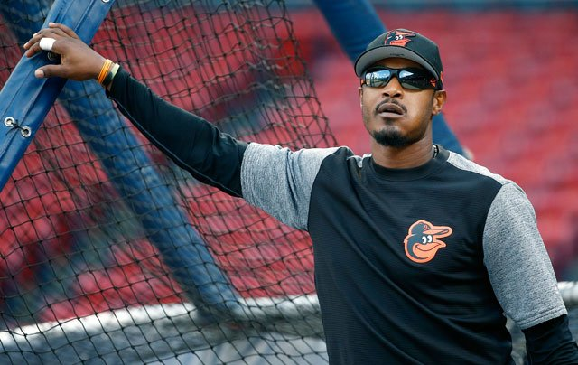 Baltimore Orioles' Adam Jones warms up before a baseball game against the Boston Red Sox, Tuesday, May 2, 2017, in Boston. (AP Photo/Michael Dwyer)
